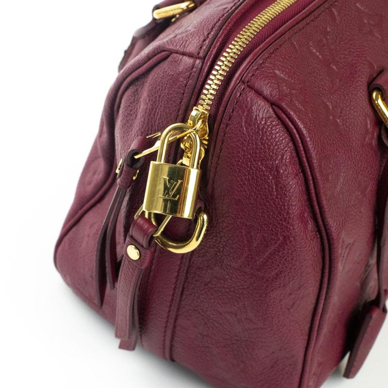 Louis Vuitton, Speedy 25 in burgundy leather For Sale 7