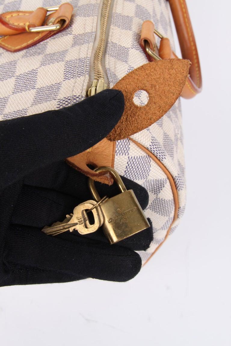 Women's or Men's Louis Vuitton Speedy 30 Damier Azur Canvas Bag For Sale