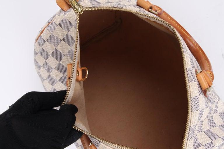 Louis Vuitton Speedy 30 Damier Azur Canvas Bag For Sale 5
