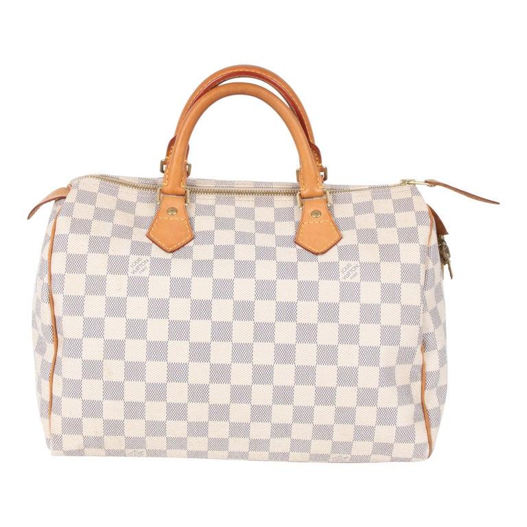 Louis Vuitton Speedy 30 Damier Azur Canvas Bag For Sale