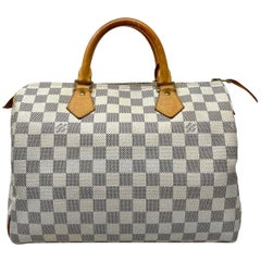 Louis Vuitton Speedy 30 Damier Azur Leather Canvas Handbag