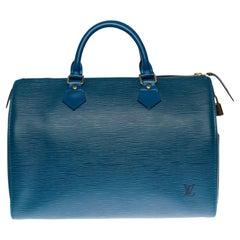 Louis Vuitton Speedy 30 handbag in blue épi leather and gold hardware