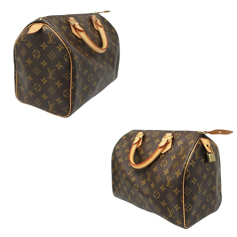 70f22ce80235 Black Louis Vuitton Speedy 30 Monogram Canvas Handbag with dust bag in Box  For Sale
