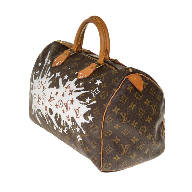 Brown Louis Vuitton Speedy 35 handbag in Monogram canvas customized