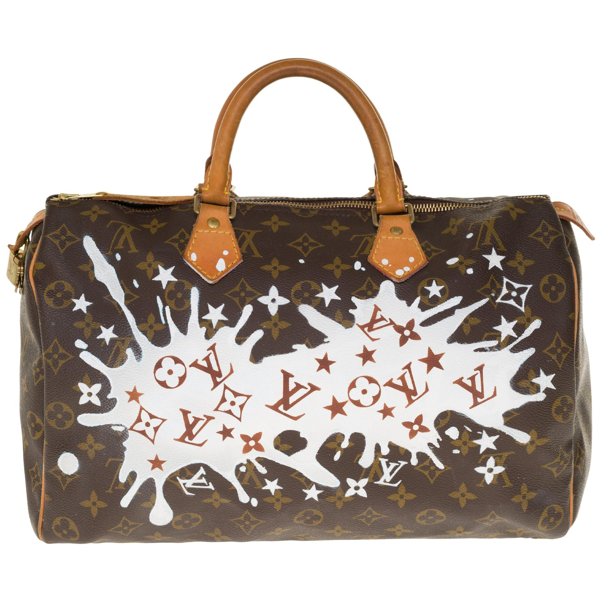 "Louis Vuitton Speedy 35 handbag in Monogram canvas customized ""Fancy"" by PatBo"