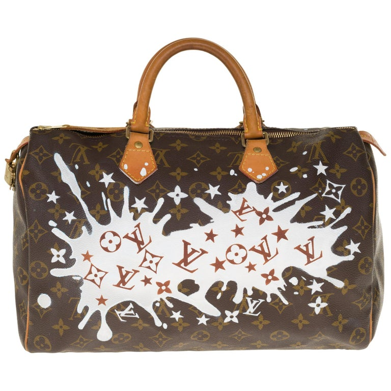 "Louis Vuitton Speedy 35 handbag in Monogram canvas customized ""Fancy"" by PatBo For Sale"