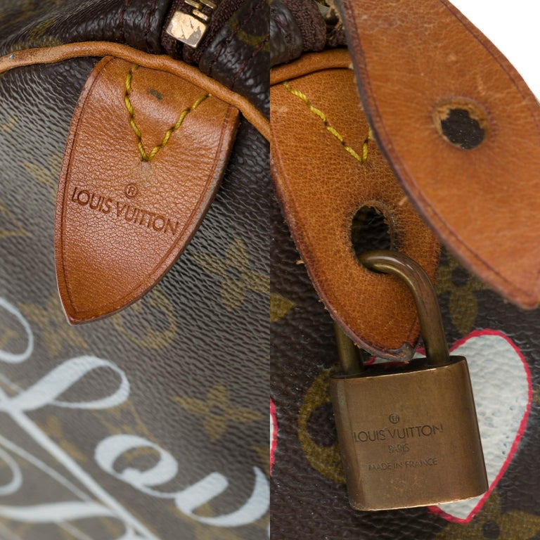 Women's Louis Vuitton Speedy 35 handbag in Monogram canvas customized