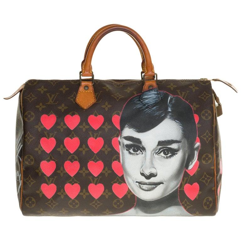 "Louis Vuitton Speedy 35 handbag in Monogram canvas customized ""Lovely Audrey "" For Sale"