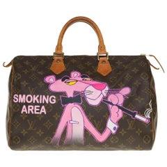 "Louis Vuitton Speedy 35 handbag in Monogram canvas customized ""Pink Panther """