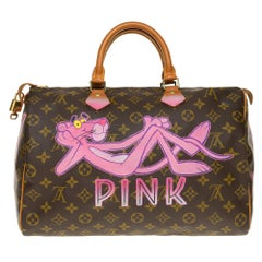 "Louis Vuitton Speedy 35 handbag in Monogram canvas customized ""Pink Panther III"""