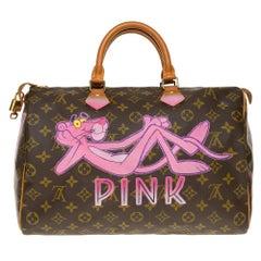 "Louis Vuitton Speedy 35 handbag in Monogram canvas customized ""Pink Panther III"""