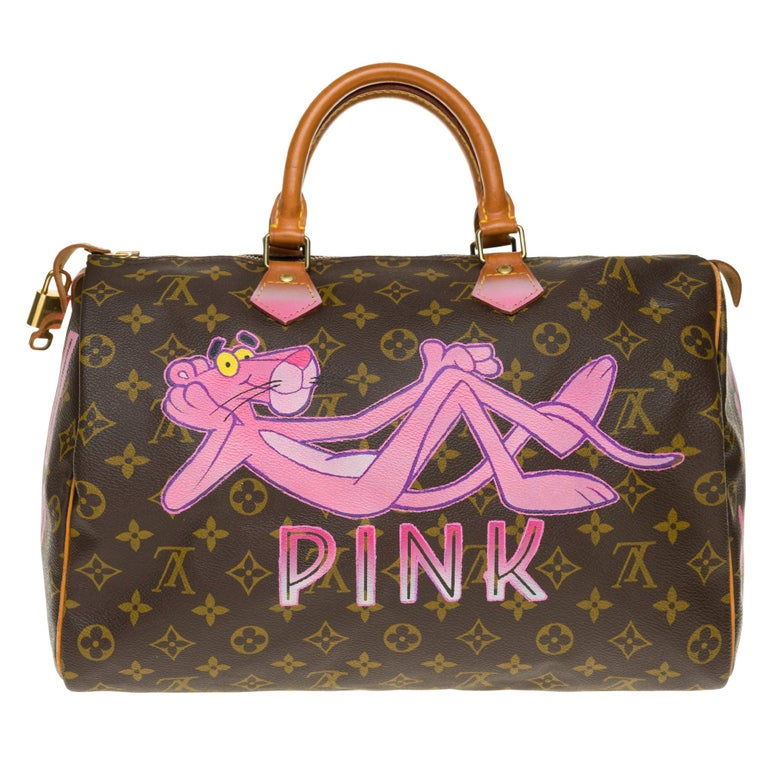 """Louis Vuitton Speedy 35 handbag in Monogram canvas customized """"Pink Panther III"""" For Sale"""