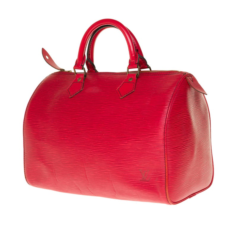 Red Louis Vuitton Speedy 35 handbag in red épi leather For Sale