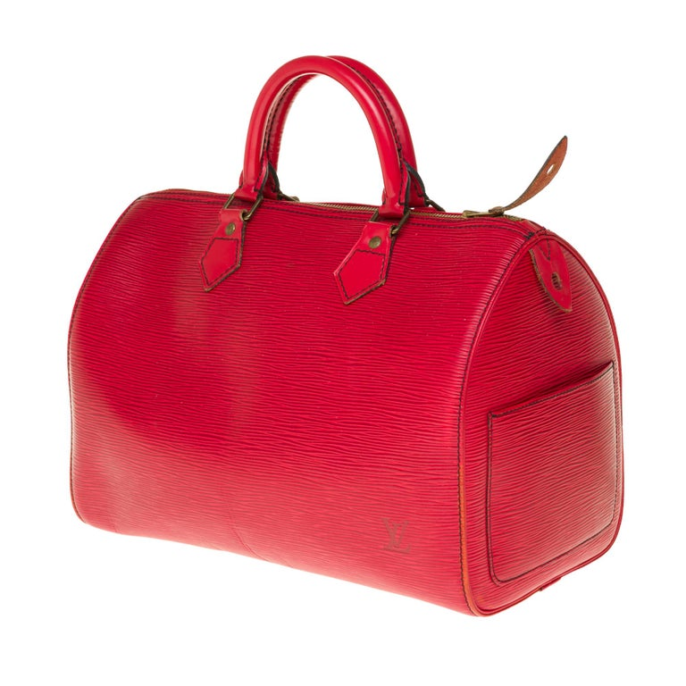 Louis Vuitton Speedy 35 handbag in red épi leather In Good Condition For Sale In Paris, Paris