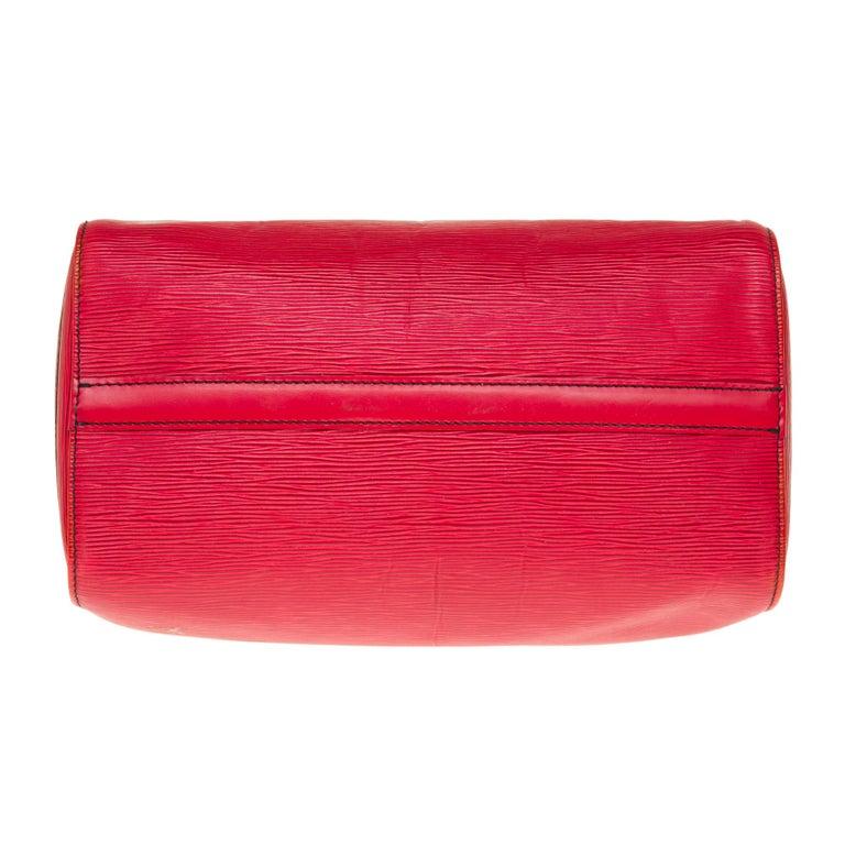 Louis Vuitton Speedy 35 handbag in red épi leather For Sale 4