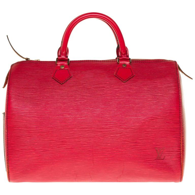 Louis Vuitton Speedy 35 handbag in red épi leather For Sale
