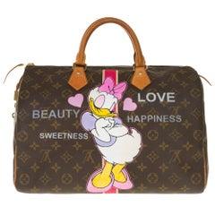 "Louis Vuitton Speedy 40 handbag in Monogram canvas customized ""Minnie's Moods"""