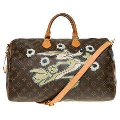 "Louis Vuitton Speedy 40 with strap in Monogram canvas customized ""Dead or alive"""