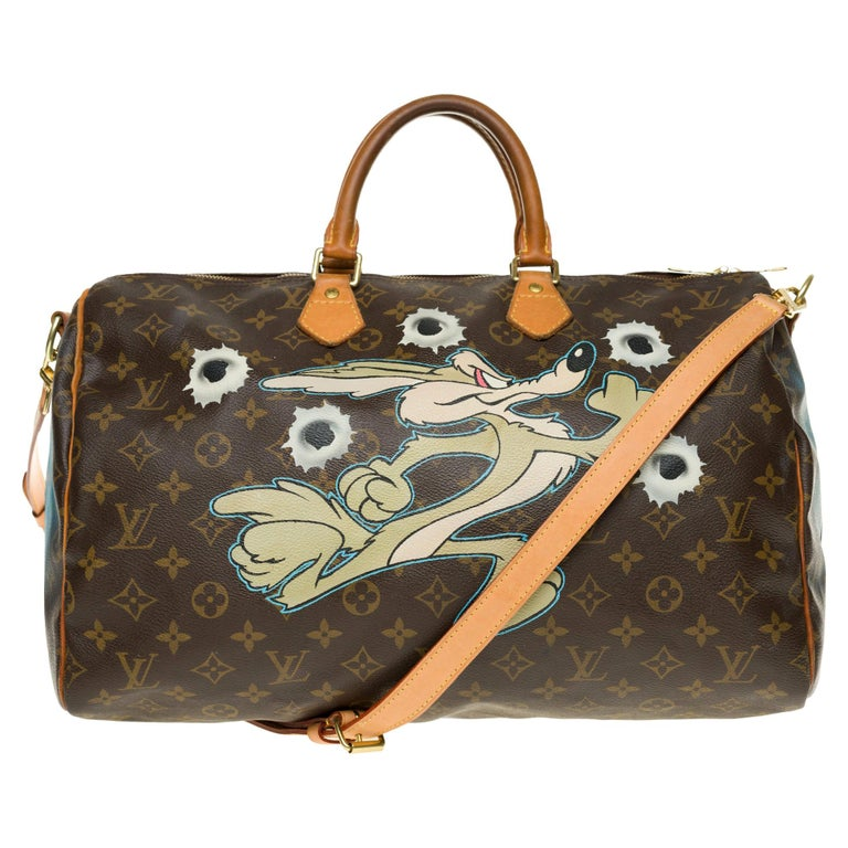 """Louis Vuitton Speedy 40 with strap in Monogram canvas customized """"Dead or alive"""" For Sale"""