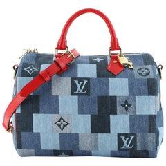 Louis Vuitton Speedy Bandouliere Bag Damier and Monogram Patchwork Denim