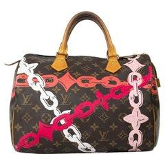 LOUIS VUITTON Speedy Edition Limitee Bay Rose Handbag in Brown Canvas