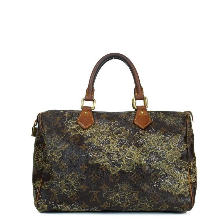 Black LOUIS VUITTON Speedy Edition Limitee Handbag in Brown Canvas For Sale