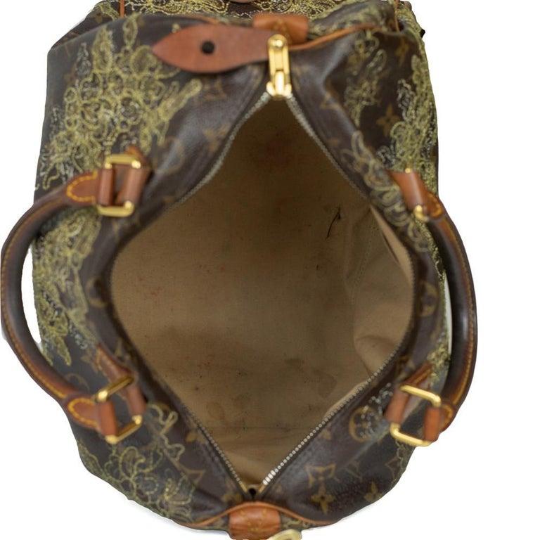 Women's LOUIS VUITTON Speedy Edition Limitee Handbag in Brown Canvas For Sale