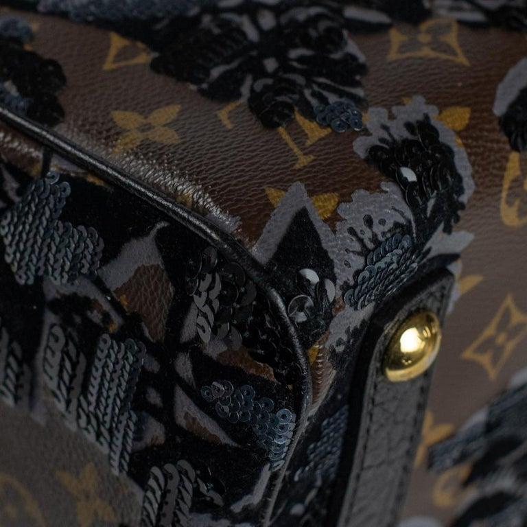 LOUIS VUITTON Speedy Fleur de jais Handbag in Black Canvas For Sale 7