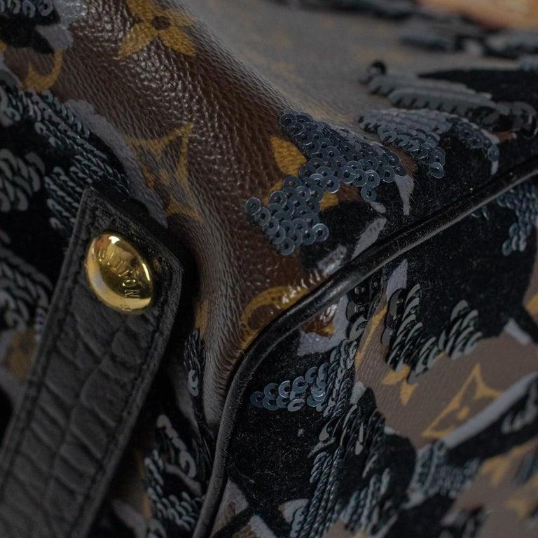 LOUIS VUITTON Speedy Fleur de jais Handbag in Black Canvas For Sale 8