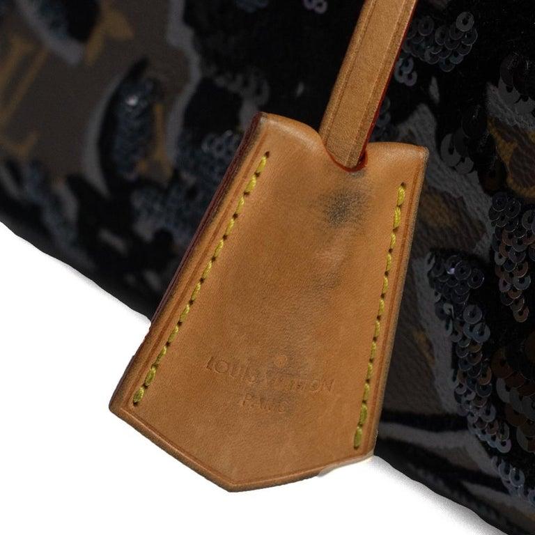 LOUIS VUITTON Speedy Fleur de jais Handbag in Black Canvas For Sale 10