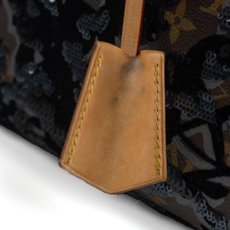 LOUIS VUITTON Speedy Fleur de jais Handbag in Black Canvas For Sale 11