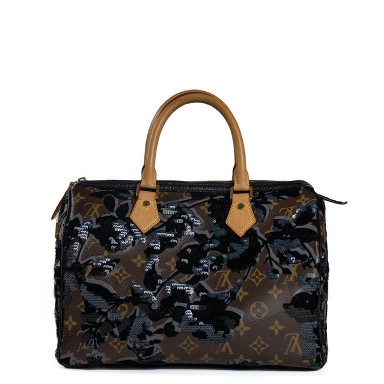 LOUIS VUITTON Speedy Fleur de jais Handbag in Black Canvas In Excellent Condition For Sale In Clichy, FR