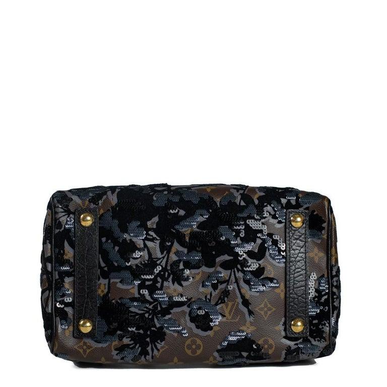 Women's LOUIS VUITTON Speedy Fleur de jais Handbag in Black Canvas For Sale