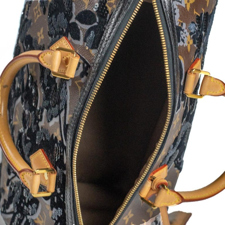LOUIS VUITTON Speedy Fleur de jais Handbag in Black Canvas For Sale 1