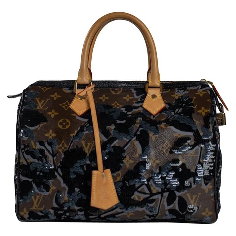 LOUIS VUITTON Speedy Fleur de jais Handbag in Black Canvas For Sale