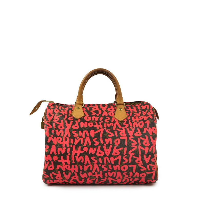 Brown Louis Vuitton, Speedy Graffiti in red canvas For Sale