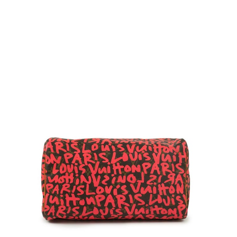 Louis Vuitton, Speedy Graffiti in red canvas In Good Condition For Sale In Clichy, FR
