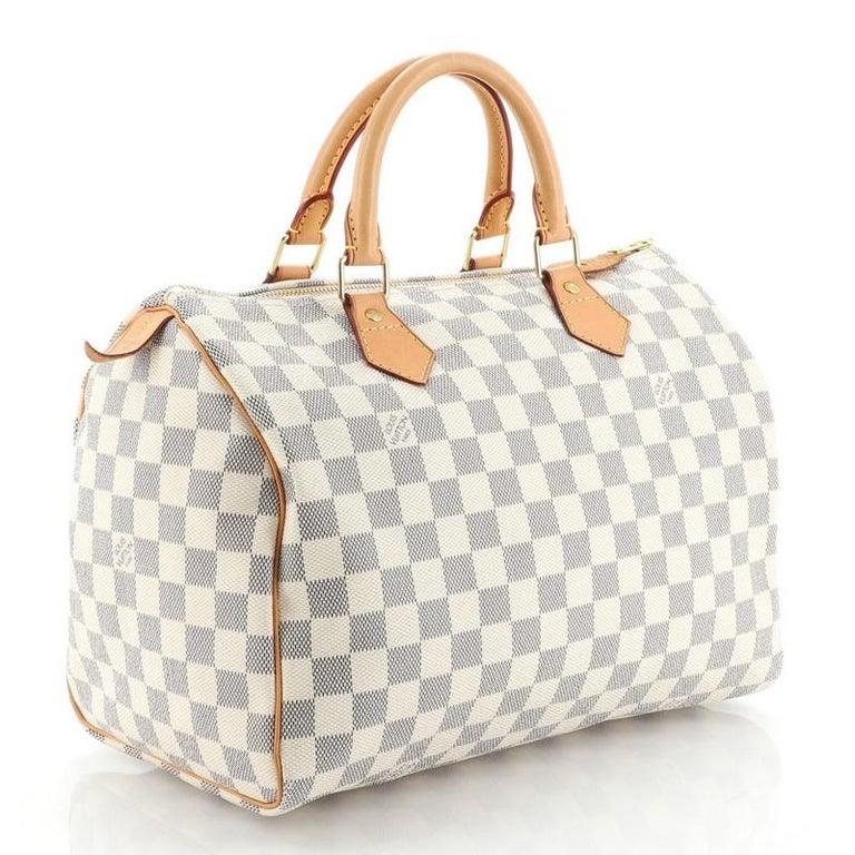 Beige Louis Vuitton Speedy Handbag Damier 30 For Sale