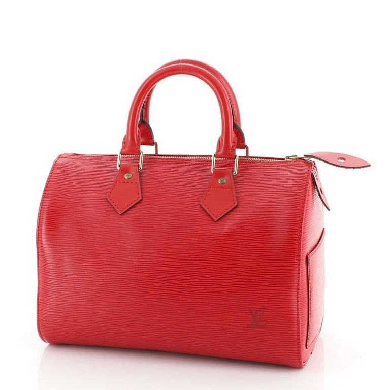 Red Louis Vuitton Speedy Handbag Epi Leather 25