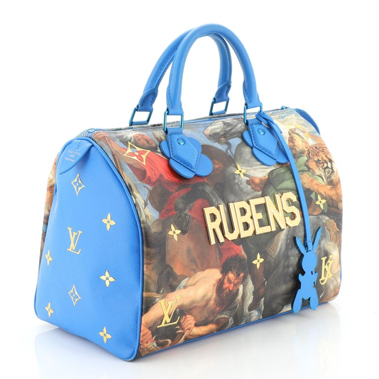 This Louis Vuitton Speedy Handbag Limited Edition Jeff Koons Rubens Print Canvas 30, crafted from blue Rubens printed coated canvas, features dual-rolled leather handles, reflective metallic letters and trimmings distinctive of this collaboration,