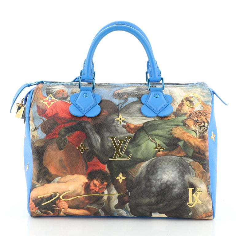 Louis Vuitton Speedy Handbag Limited Edition Jeff Koons Rubens Print Canvas 30 In Good Condition In New York, NY