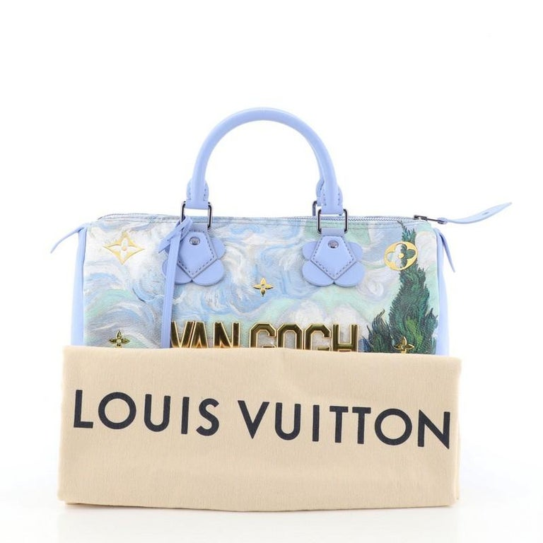 This Louis Vuitton Speedy Handbag Limited Edition Jeff Koons Van Gogh Print Canvas 30, crafted from blue Van Gogh print coated canvas, features dual rolled leather handles, reflective metallic letters, and gold-tone hardware. Its zip closure opens