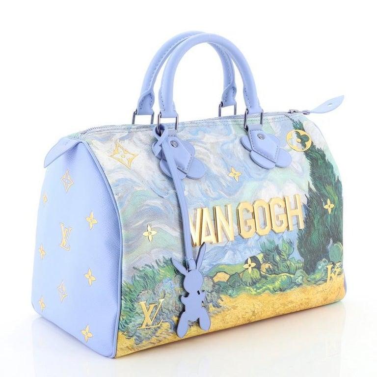 Gray Louis Vuitton Speedy Handbag Limited Edition Jeff Koons Van Gogh Print Ca