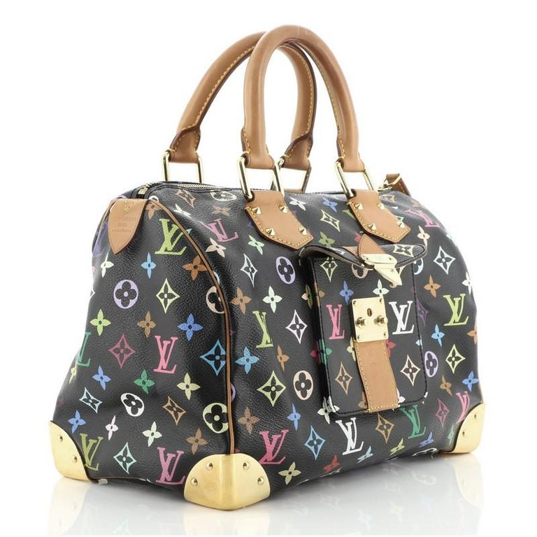 Black Louis Vuitton Speedy Handbag Monogram Multicolor 30 For Sale