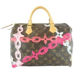 Louis Vuitton Speedy Limited Edition Chain Flower 30 22lz1129 Pink Satchel