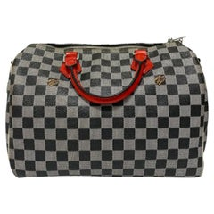 Louis Vuitton Speedy Limited Edition Shoulder Bag in Damier Weave with Leather