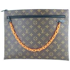 Louis Vuitton  Ss19 Virgil Abloh Chain 870218 Brown Coated Canvas Wristlet