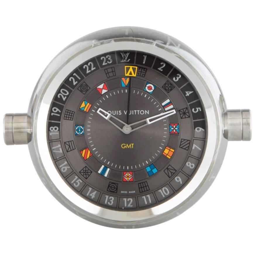 Louis Vuitton Stainless Steel Men's Women's Travel Clock in Damier Carrying Case