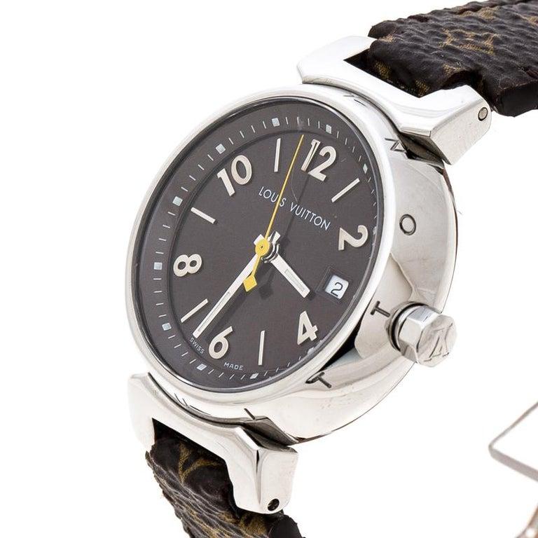 16876324ac Louis Vuitton Stainless Steel Monogram Tambour Q1211 Women's Wristwatch 28  mm