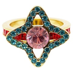 LOUIS VUITTON Star Ring in Gilt Metal set with Multicolor Rhinestones Size 7 US